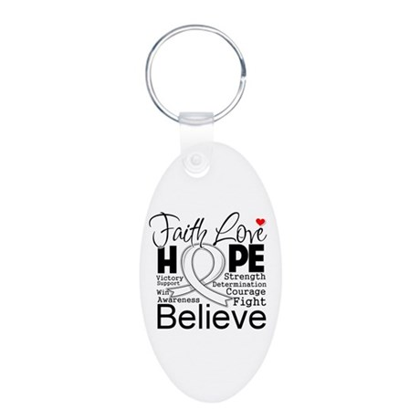 Faith Hope Retinoblastoma Aluminum Oval Keychain