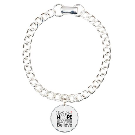 Faith Hope Retinoblastoma Charm Bracelet, One Char