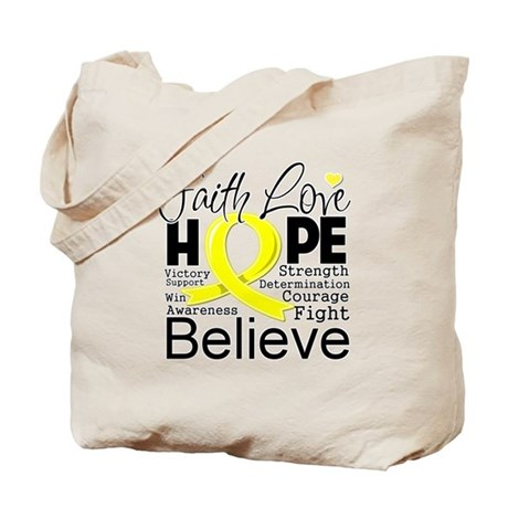 Faith Hope Sarcoma Cancer Tote Bag