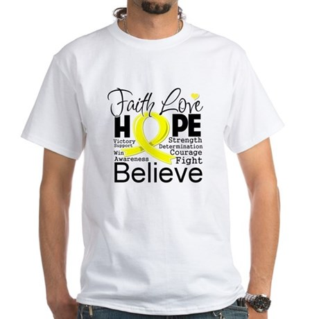 Faith Hope Sarcoma Cancer White T-Shirt