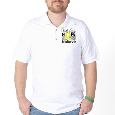 Faith Hope Sarcoma Cancer Golf Shirt