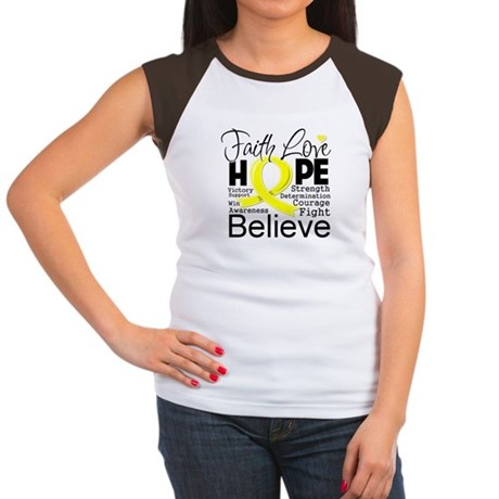 Faith Hope Sarcoma Cancer Women's Cap Sleeve T-Shi