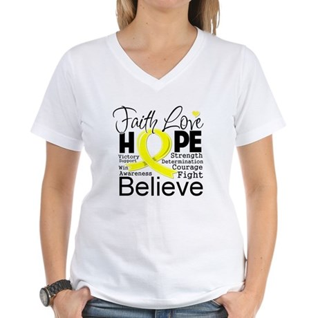 Faith Hope Sarcoma Cancer Women's V-Neck T-Shirt