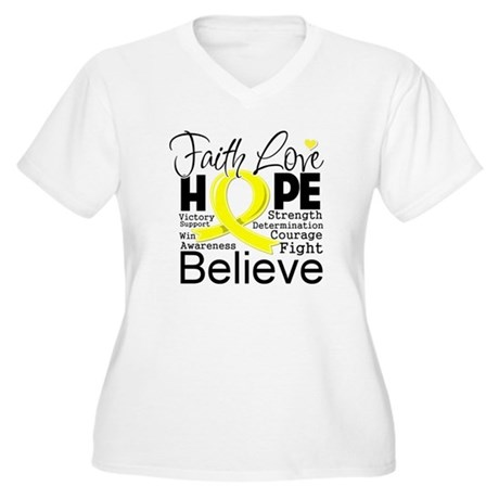 Faith Hope Sarcoma Cancer Women's Plus Size V-Neck