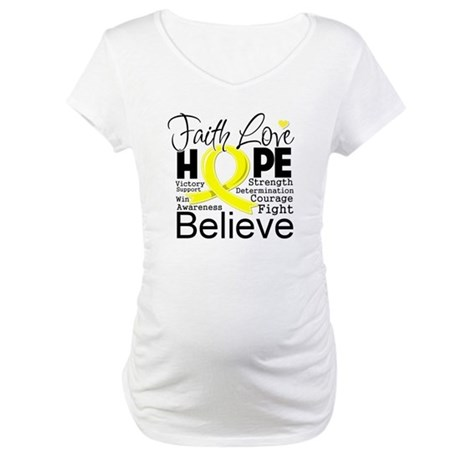 Faith Hope Sarcoma Cancer Maternity T-Shirt
