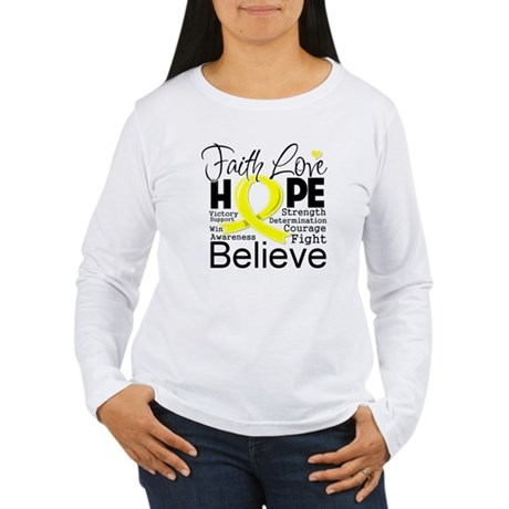Faith Hope Sarcoma Cancer Women's Long Sleeve T-Sh