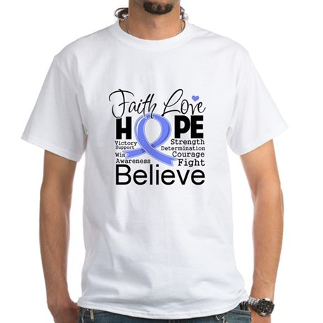 Faith Hope Stomach Cancer White T-Shirt
