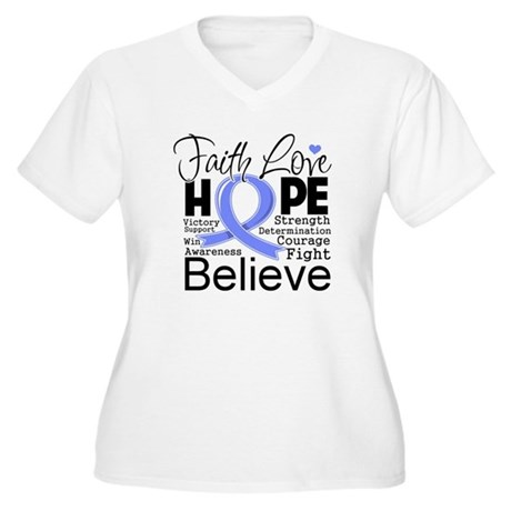 Faith Hope Stomach Cancer Women's Plus Size V-Neck