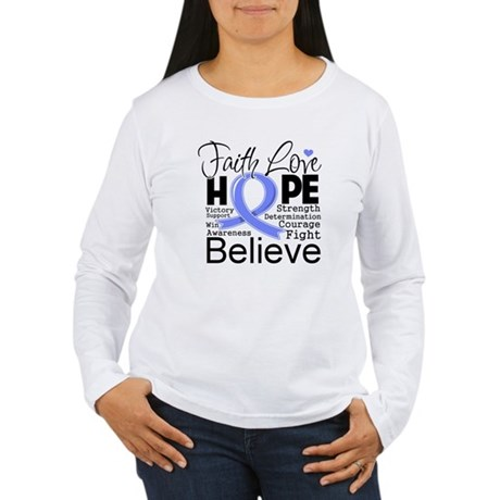 Faith Hope Stomach Cancer Women's Long Sleeve T-Sh