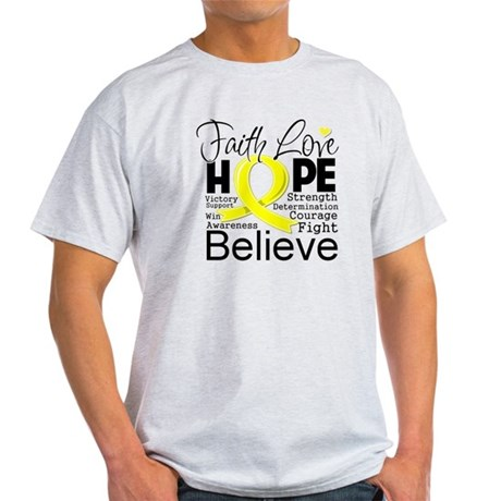 Faith Hope Testicular Cancer Light T-Shirt