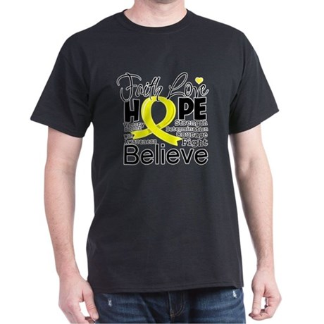 Faith Hope Testicular Cancer Dark T-Shirt
