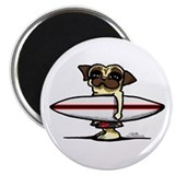 Surfer Pug 2.25&quot; Magnet (10 pack)