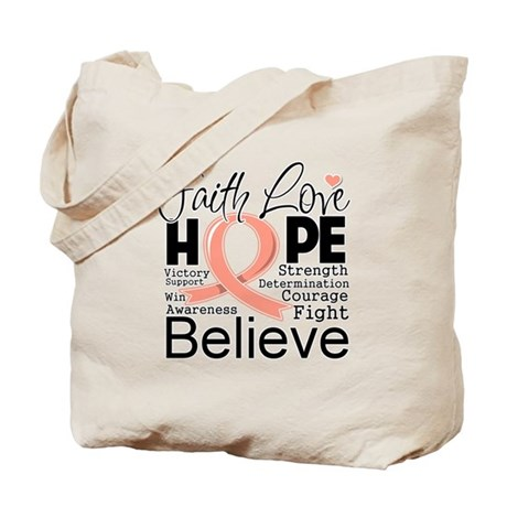 Faith Hope Uterine Cancer Tote Bag