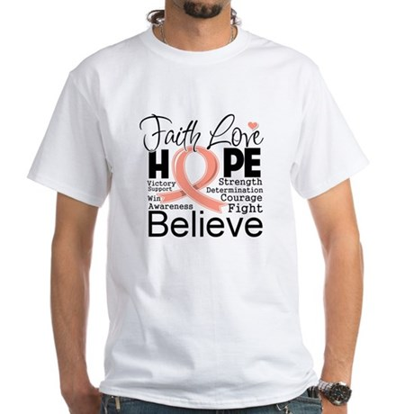 Faith Hope Uterine Cancer White T-Shirt