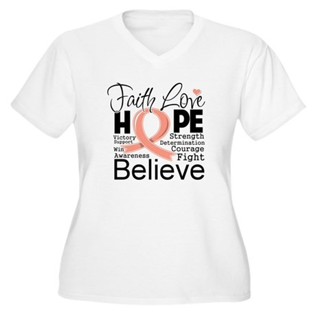 Faith Hope Uterine Cancer Women's Plus Size V-Neck