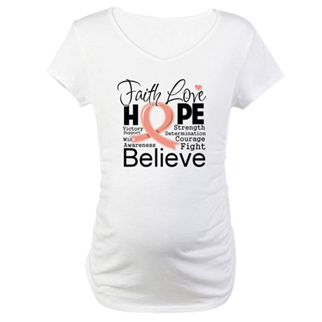 Faith Hope Uterine Cancer Maternity T-Shirt
