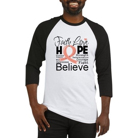 Faith Hope Uterine Cancer Baseball Jersey
