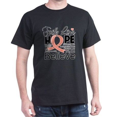 Faith Hope Uterine Cancer Dark T-Shirt