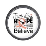 Faith Hope Uterine Cancer Wall Clock