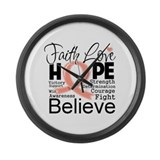 Faith Hope Uterine Cancer Large Wall Clock