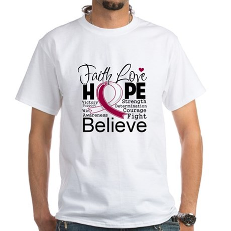 Faith Hope Throat Cancer White T-Shirt