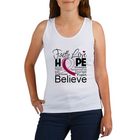 Faith Hope Throat Cancer Women's Tank Top