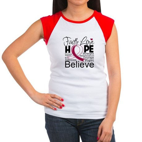 Faith Hope Throat Cancer Women's Cap Sleeve T-Shir