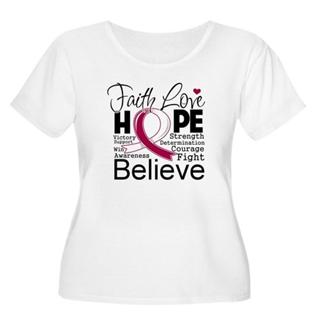 Faith Hope Throat Cancer Women's Plus Size Scoop N