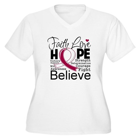 Faith Hope Throat Cancer Women's Plus Size V-Neck