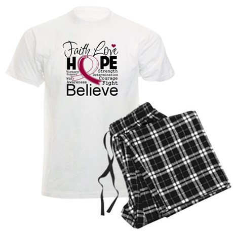 Faith Hope Throat Cancer Men's Light Pajamas