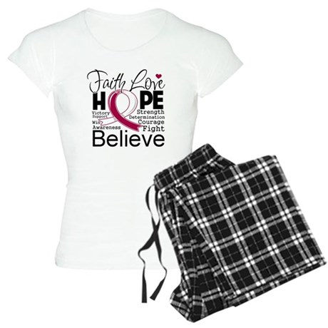Faith Hope Throat Cancer Women's Light Pajamas
