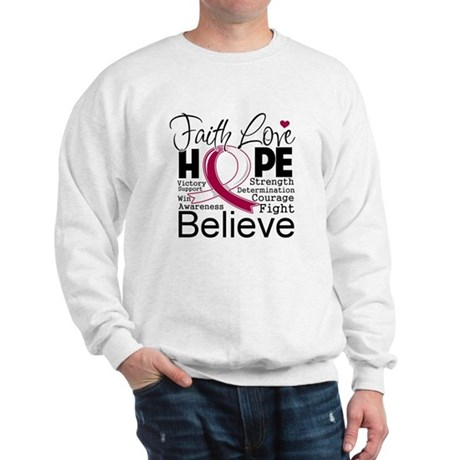 Faith Hope Throat Cancer Sweatshirt