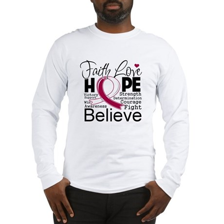 Faith Hope Throat Cancer Long Sleeve T-Shirt