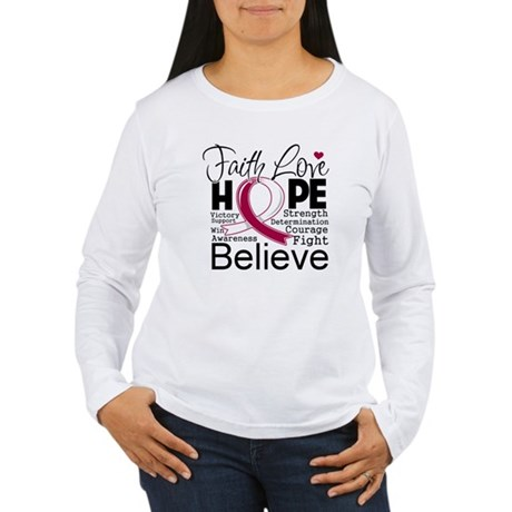 Faith Hope Throat Cancer Women's Long Sleeve T-Shi