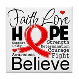 Faith Hope Heart Disease Tile Coaster