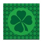 Irish Lucky 4 Leaf Clover St Patricks Tile Coaster