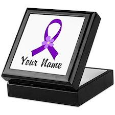 Personalized Purple Ribbon Daisy Keepsake Box