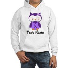 Personalized Purple Ribbon Owl Hoodie