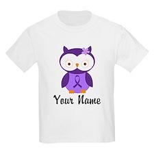 Personalized Purple Ribbon Owl T-Shirt