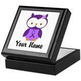 Personalized Purple Ribbon Owl Keepsake Box