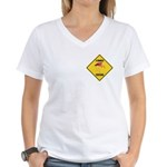 Flamingo Crossing Sign Women's V-Neck T-Shirt
