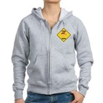 Flamingo Crossing Sign Women's Zip Hoodie
