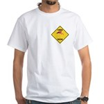 Flamingo Crossing Sign White T-Shirt