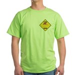 Flamingo Crossing Sign Green T-Shirt