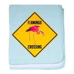 Flamingo Crossing Sign baby blanket