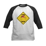 Flamingo Crossing Sign Kids Baseball Jersey