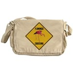 Flamingo Crossing Sign Messenger Bag