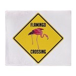 Flamingo Crossing Sign Throw Blanket