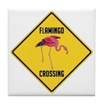 Flamingo Crossing Sign Tile Coaster