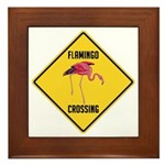 Flamingo Crossing Sign Framed Tile